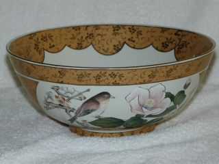 Oriental Bowl Gold Color With Birds photo