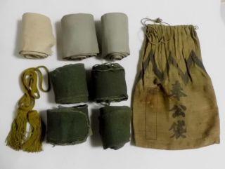 Orig Antique Ww2 Japanese Military Soldier ' S Bag Houko Fukuro & Seven Gaiters photo