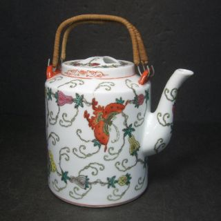 F353: Chinese Colored Porcelain Ware Big Teapot With Butterfly Design photo