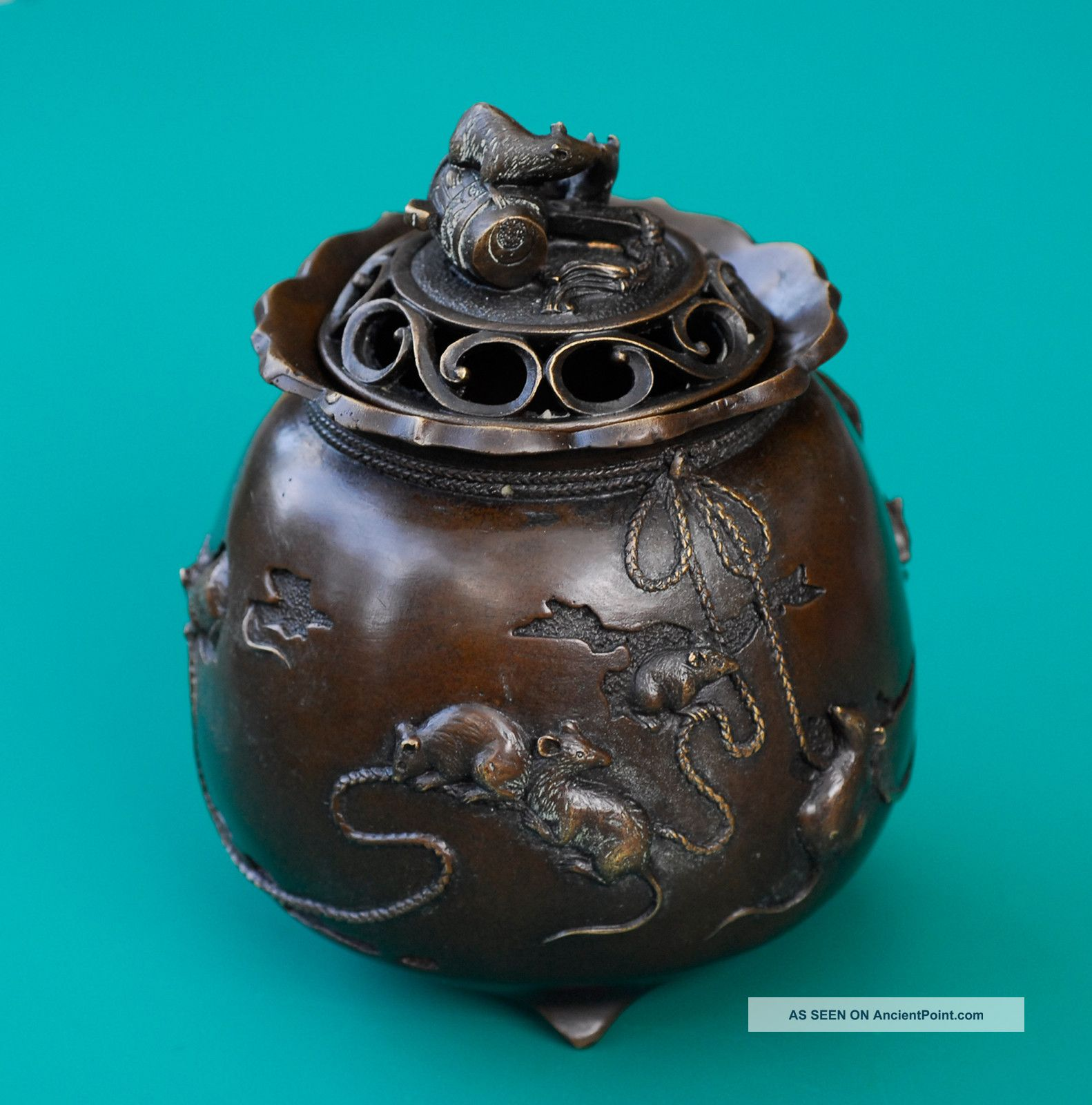 Bronze Lucky Stealing Mice Incense Burner Asian Chinese Tibet Reproductions photo