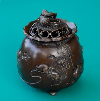 Bronze Lucky Stealing Mice Incense Burner Asian Chinese Tibet photo