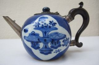Early Chinese Silver Mounted Blue & White Porcelain Teapot photo