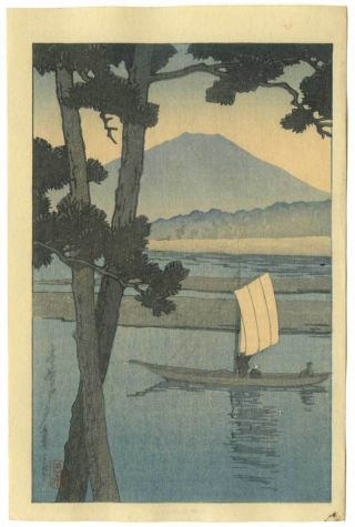 Hasui Japanese Woodblock Print Fuji With Sail Boat 1930 photo
