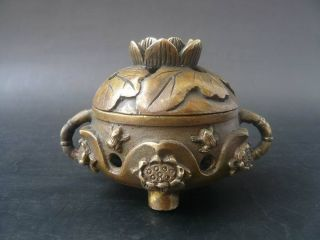 Tibet Brass Carved Hollowed - Out Lotus Flower Incense Burner Censer Pl687 photo