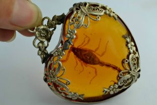 - China Collectibles Old Handwork Amber Scorpion Flower Pendant photo