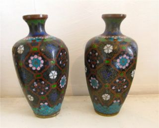 Pair Of Edwardian - Art Nouveau - Chinese - Japanese Oriental Cloisonne Vase - Vases photo