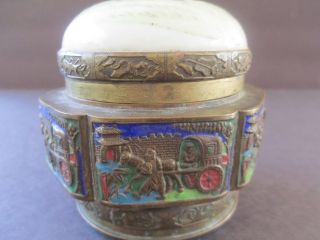 Chinese Antique Cloisonne Box With Porcelain On Top photo