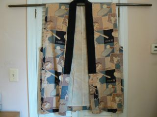Jk - 111 Men ' S Japanese Kimono Jacket Haori Vest Antique Sports Memorabilia photo