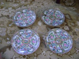 Antique Chinese Rose Medallion Set Of Plates photo