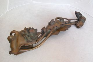 Fine Chinese Carved Boxwood / Wood Ruyi Scepter W/ Frogs On Lotus (15.  25