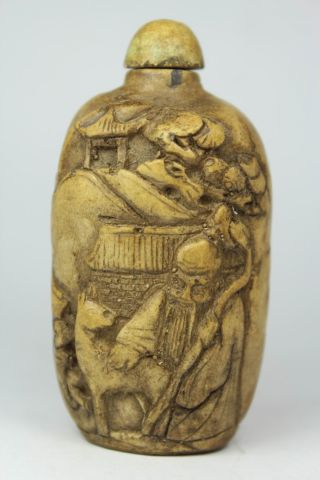 Chinese Handwork Carving Elder Favorite Old Alabaster Snuff Bottle photo