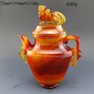 100% Natural Agate Hand - Carved Teapot & Lid Nr photo