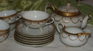 Nippon Teapot With 6 Footed Cups With Saucers & Creamer; Gilded Handpainting photo
