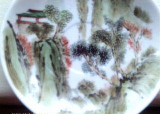 Old Chinese Porcelain Dish Hand Painted Pergoda & Landscape photo