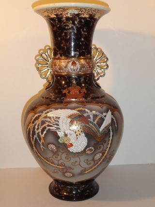 Antique Japanese Satsuma Vase With Foo Lion And Phoenix Bird Signed Large 19.  5