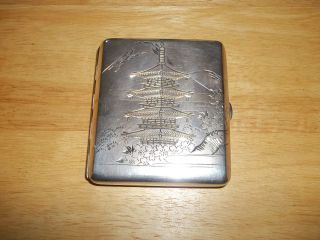 Antique Japanese 950 Grade Sterling Silver Etched Cigarette Case Mt Fuji Pagoda photo