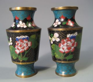 Fine Old Miniature Pair China Chinese Cloisonne Vases Floral Decor 20th C. photo