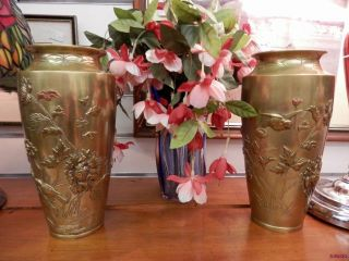 Pair Japanese Meiji Bronze Mixed Metal Relief Flowers Birds Large Vases photo