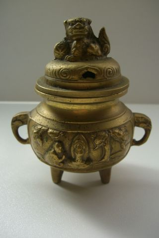 Vintage Bronze Japanese Buddhist Koro Incense Burner photo