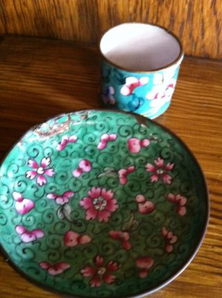 19th Century Canton Enamel Plate And Serviette Ring - As Found photo