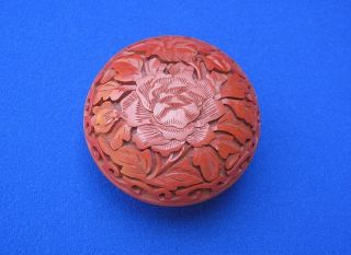 Fine Antique Chinese Cinnabar Lacquer Box Container With Lotus Blossom Design photo