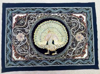 Hand Made Asian Wall Peacock Embroidered Tapestry photo