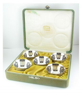 Vintage Signed Japanese 950 Sterling Silver 5 Sake Cups Set Fitted Case photo