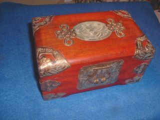 A Vintage Chinese Cherrywood Jewellry Chest,  With Jade On Top photo