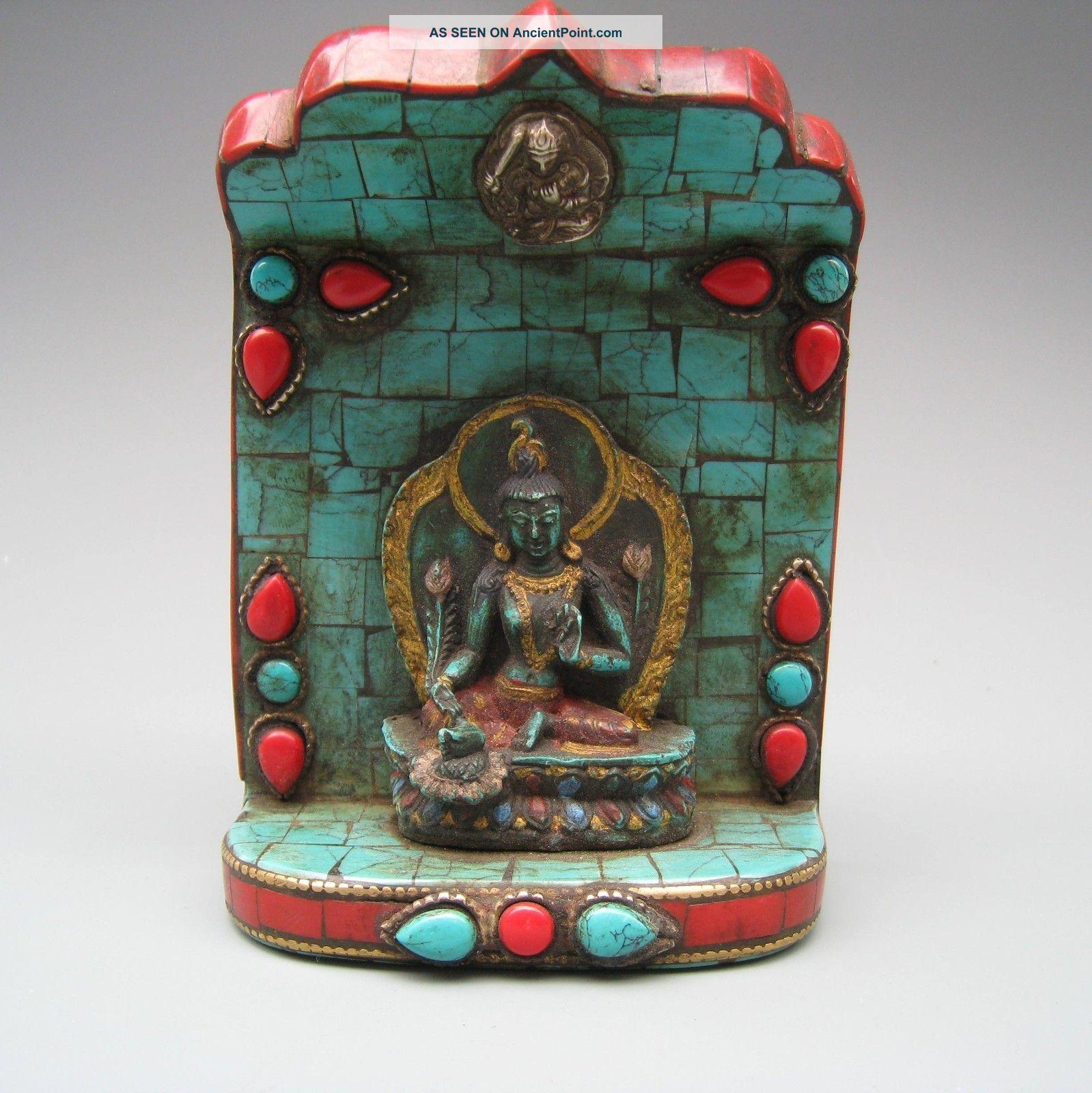 China Tibet Inlaid Turquoise Tibetan Buddhist Goddess Of Mercy Statues Nr Buddha photo