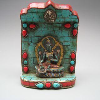 China Tibet Inlaid Turquoise Tibetan Buddhist Goddess Of Mercy Statues Nr photo