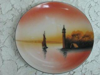 Vintage Antique Chikaramachi Hand Painted Bread Plate Autumn Boat River Scene photo