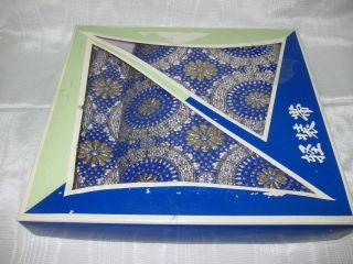 New In Box Asian Oriental Blue Gold & Silver Obi photo