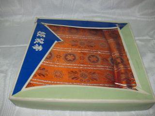 New In Box Asian Oriental Orange Purple & Silver Obi photo