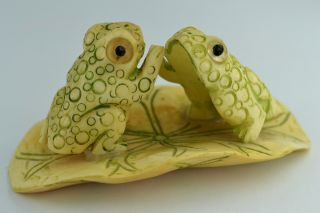 China Collectibles Old Decorated Wonderful Handwork Carving Frog Clap Statue +++ photo
