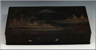 Wonderful Signed Japanese Mixed Metals Box W/ Mt.  Fuji Scene photo