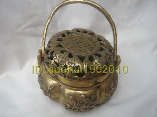 Chinese Old Carved Copper Incense Burner photo