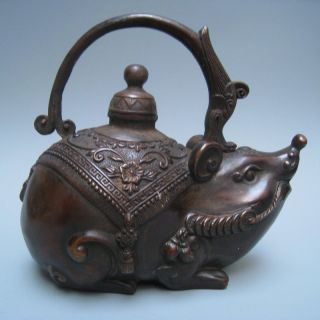 19in.  C A Beautifully Carved Fortunately Mice W Daming Xuande Bronze Jug Nr photo