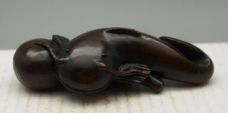Hand Carved Wooden Netsuke - Oriental - Fish - Signed By Artist photo