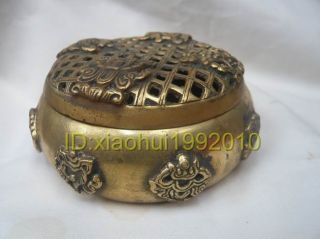 Chinese Collectible Old Brass Incense Burner photo