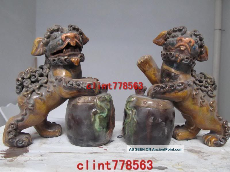 Old Folk Wucai Porcelain Two Foo Dog Lion Play Rataplan Sst Reproductions photo