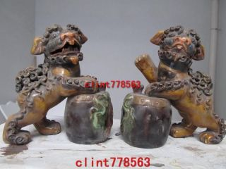 Old Folk Wucai Porcelain Two Foo Dog Lion Play Rataplan Sst photo