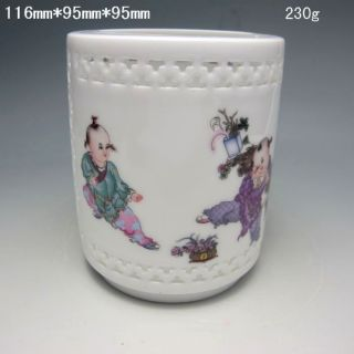 Chinese Hollowed Rose Colorful Porcelain Brush Pot Nr/xy1826 photo