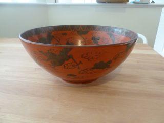 Antique Japanese Red Eiraku Bowl Dragon Motif photo