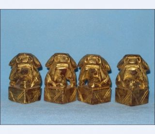 4pcs/antique Chinese Golt Gilt Wood Statues With Lions/foo Dogs photo