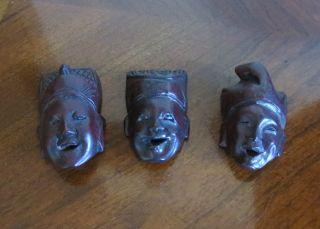 Set Of Three Scholar Masks Circa 1920 - 1930 From China photo