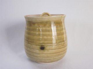 Japanese Seto Ware Water Jar Mizusashi W/sign; Wheel Marks/ Ki - Seto/ 980 photo