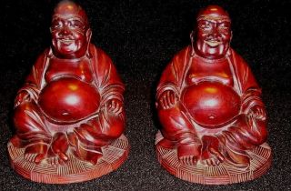 Japanese Hand Carved Wooden Buddha Statues - Matched Pair - photo