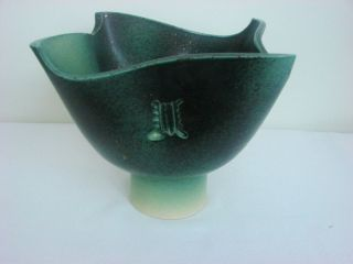 Japanese Ikebana Container,  Glaze Pottery,  Light/dark Green Colors,  Compote photo