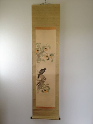 175 ~persimmon & Crows~ Japanese Antique Hanging Scroll photo