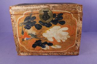 Antique Chinese Painted Wooden Tea Box W Bird + Flowers + Paper Label photo